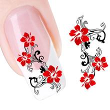 Hot DIY Red Flowers Design Nail Tip Art Water Transfers Decal Sticker