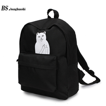 Bs.banghuashi Canvas Backpack For Women Girl New School Bag Student Backpack Mochila Escolar Female Rucksack