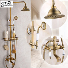 New Shower Faucets Set Bathroom Antique Brass Commodity Shelf And Hangers Ceramics Dual Handles Wall Mounted Shower Faucets