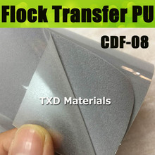 CDF-08 Silver grey Flocking transfer PU VINYL FILM, heat transfer flock vinyl for garment with size:50*100cm/lot