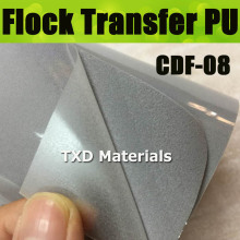 CDF-08 Silver grey Flocking transfer PU VINYL FILM, heat transfer flock vinyl for garment with size:50*100cm/lot(China)