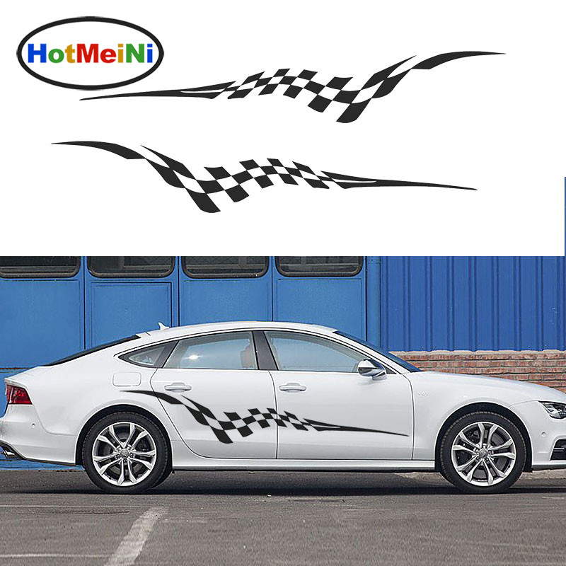 HotMeiNi 2 X Sporty Racing Checkered Flag Flutter Streamlined Artistic Streak Car Sticker Van Car Styling Vinyl Decal 10 Color<br>