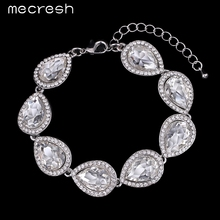 Mecresh Big Stone Bracelets For Women Silver/Champagne/Black Crystal Waterdrop Bridesmaid Pulseiras Wedding Jewelry SL051