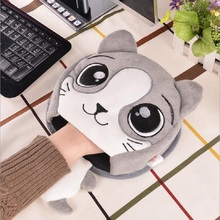 Hot Cute Cartoon Cat Home Office Winter Plush Warm Mouse Pad Laptop Wrist Rest Mice Pad USB Warm Hand Heating Mice Mat Nov1(China)
