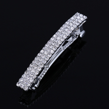 2017 Hot Sale Promotion Classic Barrettes Lovely 3 Row Hair Barrette Silver Plated Rhinestone Jeweled Clip Pin For Women