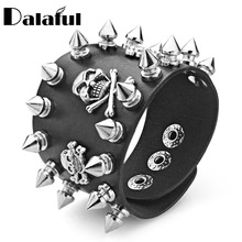 Punk Rock Spikes Rivet Gothic Three Skeleton Skull Biker Wide Cuff PU Leather Bracelets & Bangles For Women Men S353
