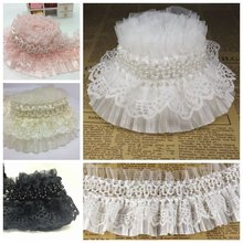 5 meters/lot White 8cm Wide Ruffle Elastic Lace Trim Pearled Pleated Stretch Lace Organza Double Layer Skirt Lace Fabric Cloth(China)
