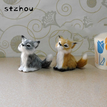 Simulation Animal Fox Plush Genuine Leather Toy Plush Doll Toy For Furniture Ornaments Car Accessories Christmas Gifts Pendant