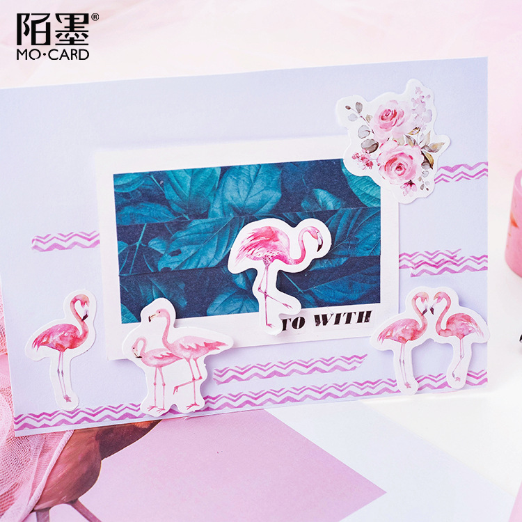 45pcs/pack Pink Flamingo Stickers Decorative Stationery Scrapbooking Diy Diary Album Stick Lable