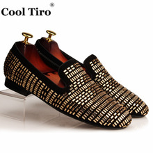 Cool Tiro Black Suede Men's Loafers Square Gold Crystal Slippers Slip Flats Rhinestones Party Dress Shoes Leather Moccasins(China)