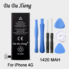 100% original Brand Da Da Xiong 1420mAh Genuine Li-ion Mobile Phone Accessory Replacement Battery Pack for iPhone 4 4G(China)