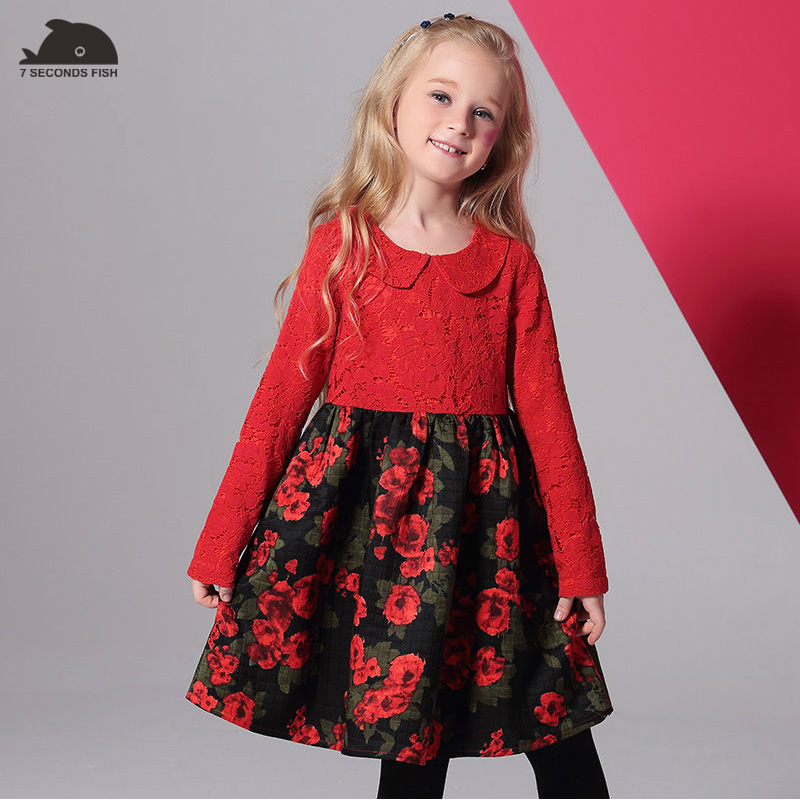 Girls Dresses 2017 Baby  Lace dress Floral Printing Autumn Toddler Long sleeve party dress  Children Clothing Kids Clothes<br>
