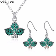 Christmas theme Christmas tree leaves Necklace eardrop set suit accessories wholesaler 925(China)