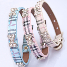Fashion Plaid Dog Collar Durable PU Leather Adjustable Bling Rhinestone Bone Necklace Pet Puppy Collar S/M/L perro gato collar(China)