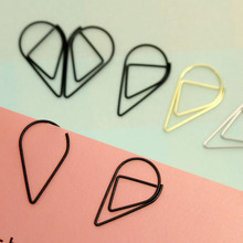 50pcs/lot 2.5*1.5cm Modeling Paper clips Metal material water drop shape golden silver black colored bookmark memo clips