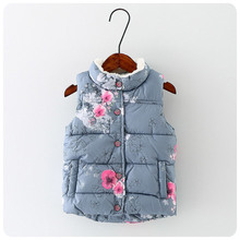 Goods In Stock 2016 Autumn Korean Children's Garment Girl Precious Flower Increase Down Vest Girl  Warm Vest Postal