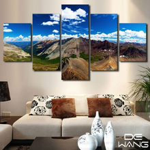 5 Pieces/Set  Mountains Painting On Canvas Home Decoration Wall Art Pictures For Living Room Unframed Blue Sky Landscape Picture