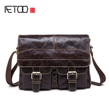 AETOO New Wax Leather Series Messenger Bag For Men Bag Genuine Leather Shoulder Bags Cross Body Bags Vintage Satchel(China)