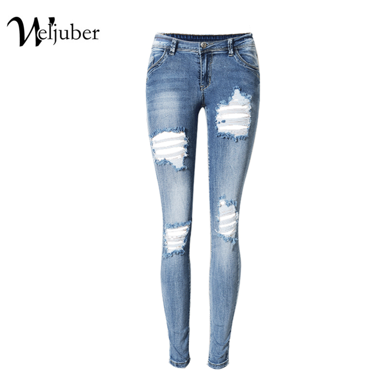 2017 Weljuber women Low Waist Skinny Jeans Hole Jeans Denim Ripped Light Blue Pencil Pants Women Sexy Jeggings High ElasticÎäåæäà è àêñåññóàðû<br><br>
