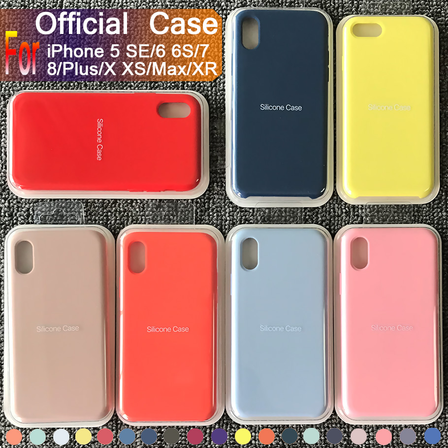 Have original Logo official silicone case for Apple iPhone 7 8 Plus back case for iPhone X Xs Max XR 5 5S SE 6 6S Plus with Box(China)