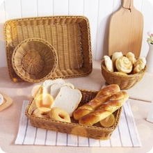 WHISM Rectangle Imitation Rattan Fruits Vegetables Basket Handmade Weaving Storage Wicker Bread Snack Laundry Hamper Home Decor