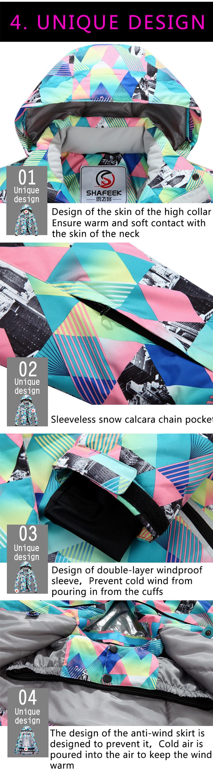 9fb71bb9e1 2019 Wholesale SHAFEEK Women Ski Jacket Outdoor Winter Ski Suit ...