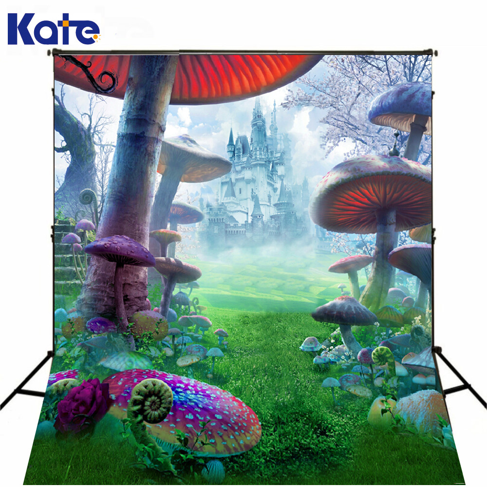 Kate Background Fundo Child Photography Background Castle Forest Poisonous Mushrooms Photography Scenic Backdrops J01684<br>