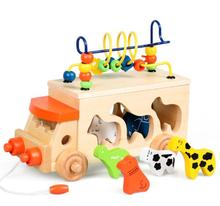 Multifunctional Animal Beads Bus Wooden Block Shape Sort Bead Maze Children Kids Educational Toys(China)