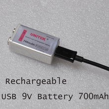 NEW UNITEK 6F22 USB 9V rechargeable lithium ion battery 700mAh li ion cell for wireless microphone replace ni-mh nimh 9V cell