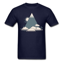 Men Cloud Mountain tshirt Music graphics Yellow Tees for men Short sleeved good tshirt(China)