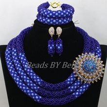 Latest Design Lace Jewellery Nigerian Wedding Traditional Necklace African Blue Crystal Bridal Jewelry Sets Free Shipping ABK535
