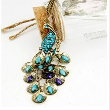 European and American trade jewelry imitation jewels retro peacock sweater chain necklace Free Shipping 4ND177