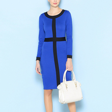 New Sale Womens Elegant Tartan O Neck Tunic Wear To Work Business Casual Party Stretch Pencil Sheath Dress 083(China)