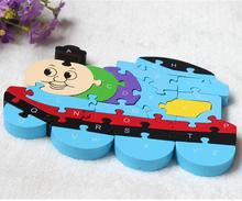 English Letters Toys Brains Lovely Wooden Puzzles 3D Puzzle Educational Children Wooden Toys Thomas Train