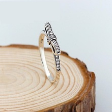 Fashion Design Silver Sparkling Bow Knot Stackable Rings Micro Pave CZ for Women Wedding Jewelry Findings