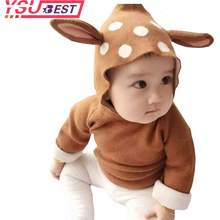 2018 New Baby Girls Cartoon Deer Costume Cardigan Toddler Kids Boys Dot Animal Knitted Crochet Sweater Outwear Clothing 12M-5Yrs(China)