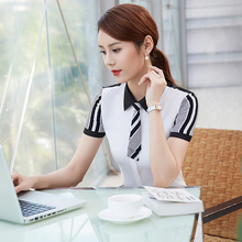 2017 Summer Short Sleeve White Office Blouse Women Shirt Chiffon Tops Elegant Ladies Formal Business Work Wear Plus Size Clothes