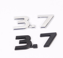 1X New Chrome Black 3.7 3D Metal Car Auto Badge Emblem Sticker Chrome for Infiniti Q50 Q50L G37 G25 QX70 FX35 FX37 Car-Styling