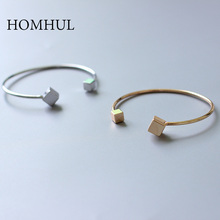 HOMHUL New Fashion Gold &Silver Color Cube Bangle Bracelet For Women Jewelry Wholesale(China)