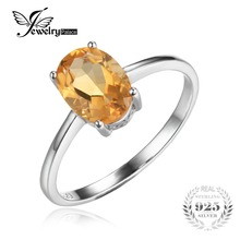 JewelryPalace Solid 925 Sterling Silver Oval 1.1ct Natural Citrine Birthstone Solitaire Ring Genuine Fine Jewelry for Women