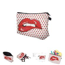 Fashion Travel Cosmetic Bag Zipped Sexy Lady Red Lips Dots Printing Makeup Organizer Women Casual Storage Bags SSwell(China)