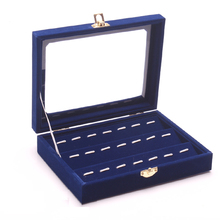 New Style Delicate Blue Wood Jewelry Display Case All Jewelry Collection Showcase Functional Tray Glass Lid Holder Box(China)