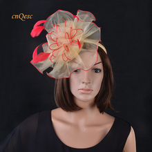 Ladies hat Organza fascinator Sinamay base with feathers for Ascot,Melbourne Cup,Kentucky Derby,wedding,party(China)
