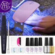 Sexy Mix Professional French Manicure Set with 6W Nail Dryer Lamp Nail Art Tools Base Top Coat Primer Choose Any 4 Color Gel(China)