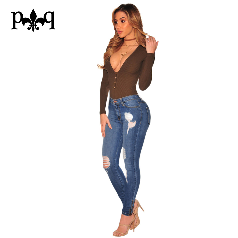 Sexy Womens Jeans 2017 New Fashion Streetwear Hole Ripped Jeans For Women Mid Waist Pants Slim Plus Size  Denim Jean FemmeОдежда и ак�е��уары<br><br><br>Aliexpress