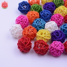 2017 NEW 20Pcs/lot 3cm Straw Ball For Birthday Party Wedding Decoration Rattan Decor Christmas Decor Home Ornament Supplies