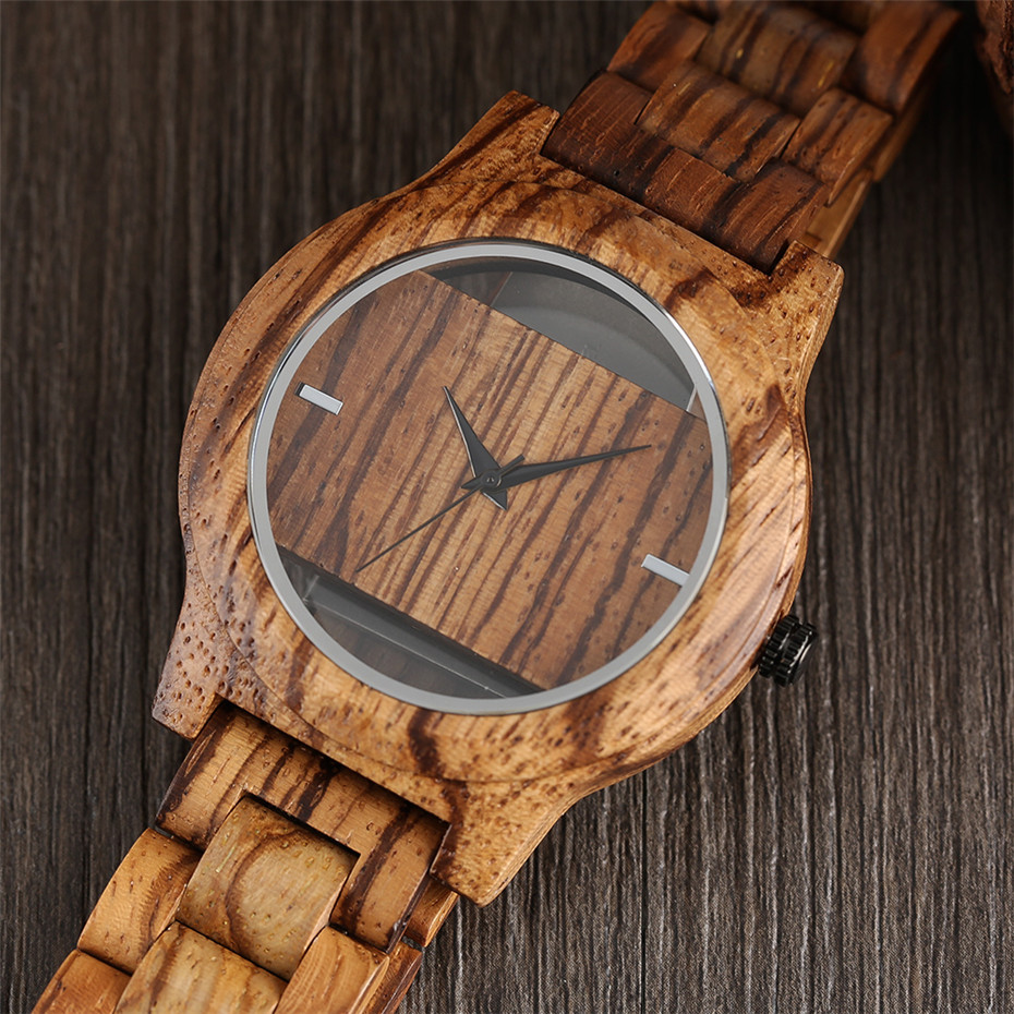 Different color Creative Fashion Casual Sport Simple analog Hollow Bamboo Wooden Men Unique Handmade Wood Quartz Wristwatch+Gift Bags (29)