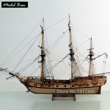 Wooden Ship Models Kits Train Hobby Model-Ship-Assembly Educational Model Boats Wood 3d Laser Cut 1/48 American ship Rattlesnake(China)