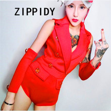 Sexy Red Space Cotton Fabric Breasted Adornment Women Suit Bodysuit Nightclub Singer Performance Celebrate Party DJ Show Leotard(China)