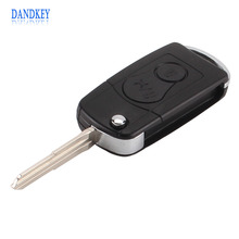Dandkey 2 BUTTONS Flip Folding Car Remote Key Case SHELL For Ssangyong Actyon SUV Kyron With LOGO Free Shipping